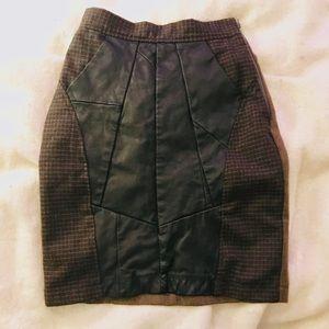 Reclaimed vintage hi waist leather and wool skirt